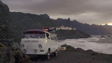 Canon photo camera shooting with old vw bulli on the canary island tenerife with seven islands film